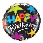 Balão Metalizado Redondo 9 Polegadas - Estrelas Brilhantes de Aniversário (fundo Preto) - Qualatex