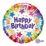 Balão Metalizado Redondo 9 Polegadas - Estrelas Brilhantes de Aniversário - Qualatex
