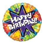 Balão Metalizado Redondo 9 Polegadas - Explosão Radiante de Aniversário - Qualatex