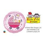 Balão Metalizado Redondo 9 Polegadas - Rachel Ellen - Menina e Carrinho - Qualatex