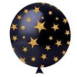 Balão N11 Happy Stars Preto C/ Glitter