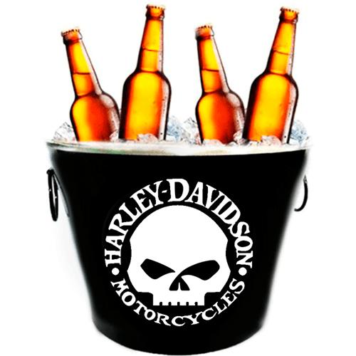 Balde de Cerveja Harley Davidson Caveira Preto