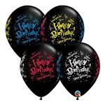 Balões Látex Redondo Preto Ônix 11 Polegadas - Farra de Aniversário! - Unitário - Qualatex