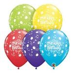 Balões Látex Redondo Sortido Especial 11 Polegadas - Balões e Notas Musicais de Parabéns a Você - Un