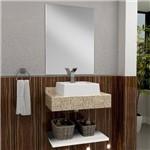 Bancada para Banheiro com Espelheira Tampo em Granito e Cuba Gaam Oroch 63cm Branco/amarelo