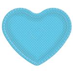 Bandeja Coração Azul Poá Branco - 30cm X 35cm - Unidade