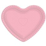 Bandeja Coração Rosa Poá Branco - 30cm X 35cm - Unidade