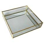 Bandeja de Metal e Vidro Espelhado - Square Glass Edges