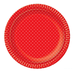 Bandeja Redonda N.6 Vermelha Poá Branco - 32cm - Unidade