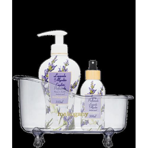 Banheira com Spray de Perfumação e Hidratante Lavanda & Algodão Mahogany