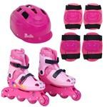 Barbie Patins Ajustáveis 33 a 36 M - com Acessórios de Proteção - Fun Divirta-Se