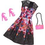Barbie Roupas Fashion Vestido de Dia Floral Preto - Mattel