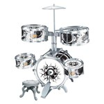 Bateria Rock Party Infantil Musical com Pedal Dm Toys 67 Cm