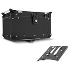 Bau Roncar Adventure Traseiro 48L Alumínio Preto + Base de Fixação Tiger 800 2014 à 2018