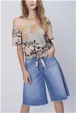 Bermuda Feminina Jeans Cinto de Lenço