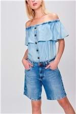 Bermuda Jeans Boyfriend Básica Feminina