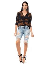 Bermuda Jeans Rasgos Frontais