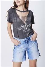 Bermuda Jeans Recortes Laterais Feminina