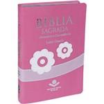 Bíblia com Dicionário e Concordância - Revista e Atualizada - Letra Grande - Feminina Rosa Flor
