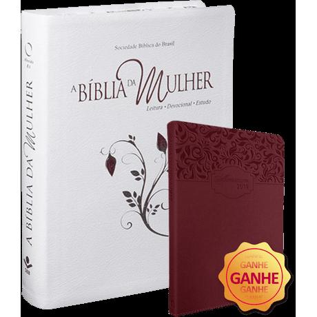 Bíblia da Mulher Bordas Floridas   Média   ARA - [GANHE 01 Agenda 2019] Branca