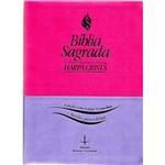 Bíblia Sagrada com Harpa Cristã - Letra Gigante - Letras Vermelhas e Auxílios para o Leitor- Revista e Corrigida (pink e Violeta)