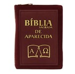 Bíblia Sagrada de Aparecida com Capa de Ziper Simples na Cor Bordo   SJO Artigos Religiosos