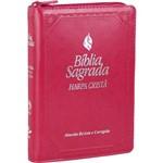 Bíblia Sagrada Fonte de Bênçãos - com Harpa , Zíper e Índice - Letra Maior - Arc - Rosa Escuro