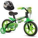 Bicicleta Aro 12 Infantil Masculina Assento Macio Black 12 com Capacete Nathor