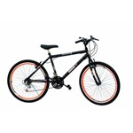 Bicicleta Aro 26 Masc 18m Preta com Aero Laranja Neon