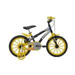 Bicicleta Athor Aro 16 Baby Lux Masculino Preta com Kit Amarelo
