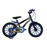 Bicicleta Athor Aro 16 Baby Lux Masculino Preta com Kit Azul