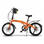 Bicicleta Dobravel Pliage Plus 7 Marchas Freio a Disco Alaranjada Two Dogs