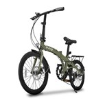Bicicleta Dobravel Two Dogs Pliage Plus 7 Marchas Freio a Disco Verde Militar