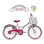 Bicicleta Infantil 7-10 Anos Tito Unilover Unicórnios Aro 20 com Cestinha