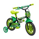 Bicicleta Infantil Aro 12 Nathor Black Cesta e Garrafa Preta/Verde