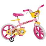 "Bicicleta Infantil Bandeirante Bela Princesas Disney Aro 14"" - Rosa/Amarela"
