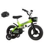 Bicicleta Infantil Kit Kat Aro 12 com Capacete Preto/Verde Neon - Track Bikes