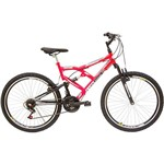 Bicicleta Life Zone LZ 400 Aro 26 21 Marchas Full Suspension - Rosa