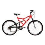 Bicicleta Mormaii Aro 26 Full Suspensão Big Rider 24 Marchas Laranja Neon