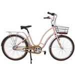 Bicicleta Retrô Vintage Antonella Alumínio Aro 26 Rosa