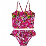 Biquini Baby Cropped Floral Rosa Tip Top com FPS 50+