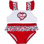 Biquini Bebê Infantil Marinheira Tip Top FPS50+ Vermelho