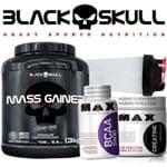 Black Skull Importado - Hipercalórico Massa Gainer 3kg + Creatina + Bcaa + Bope Caveira Preta