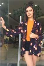 Blazer Kimono Caju de Onça Farm - P