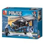 Blocos Policia Helicoptero de Combate 219pçs Multikids Br834