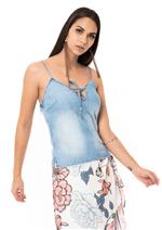 Blusa Alcinha Jeans Decote