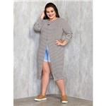 Blusa Alongada Plus Size Listrada M