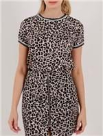 Blusa Animal Print Manga Curta Feminina Autentique Bege