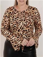 Blusa Animal Print Plus Size Feminina Autentique Bege/onça