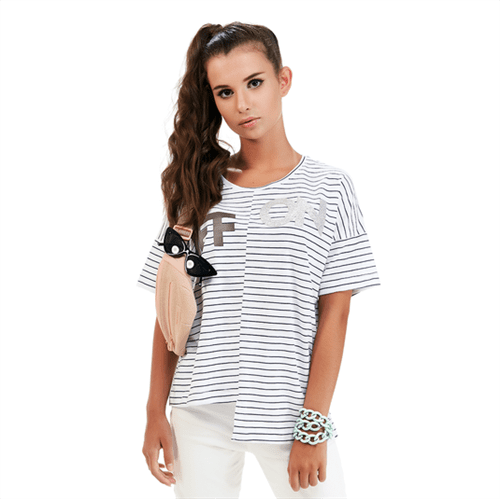 Blusa Assimétrica Juvenil Abrange Way Off/On Branco 12